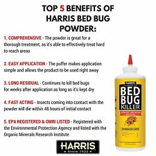 New Harris Bed Bug Diatomaceous Earth Powder Fleas Lice Seeds Insect Killer 8oz
