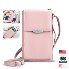Women Small Crossbody Bag, ifab Cell Phone Purse Wallet w/Credit Card Slots Pink