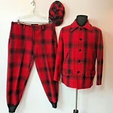 Vintage Soo Red Plaid Wool 6 Pocket Hunting Jacket Pants and Hat Set size 40 TB
