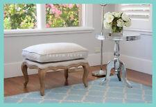 *In stock now!* NEW French Provincial oak ottoman footstool in beige linen
