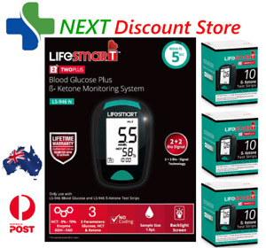 LifeSmart Blood Glucose Meter with 3 BOXES Ketone Strips INCLUDED