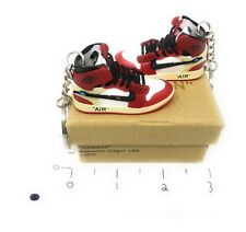Hand Painted Retro OG Pair of 3D Mini Shoe Keychains Varsity Red Off-White