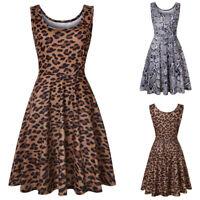 Women Sleeveless Leopard Print Summer Beach A Line Casual Dress Party Mini Dress