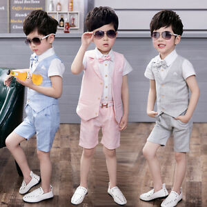 NEW 4Pcs Formal Toddler Children Boy Kid Short Suit Wedding Party Outfits  1-8Y
