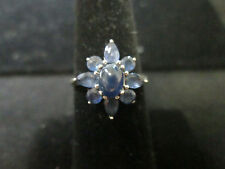 VINTAGE 14K WHITE GOLD SAPPHIRE RING AND EARRINGS SET