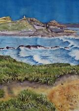 Bude, Compass Point Cornwall art print from Watercolour painting by Alex Pointer