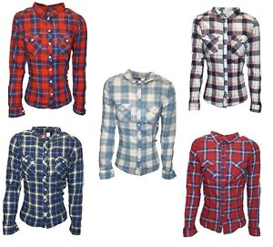 Ladies Casual H&M Slim Fit Check Shirt Roll Over Sleeve Cotton