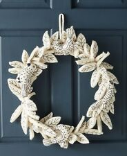 NEW ANTHROPOLOGIE WREATH SONGBIRD STITCHED FELTED- WHT/BLK HOLIDAY XMAS ORNAMENT
