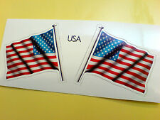 USA STARS & STRIPES Flag & Pole Motorcycle Car Bumper Stickers Decals 2 off 60mm