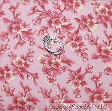 BonEful FABRIC Cotton Quilt Pink Victorian Shabby Chic Rose Flower Calico SCRAP
