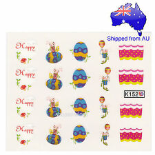 Easter Blue Egg Bunny Nail Art Water Transfer Decal