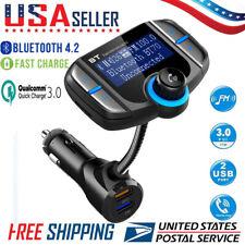 Bluetooth 4.2 FM Transmitter MP3 Player Car Radio Adaper W/QC 3.0 Quick Charger