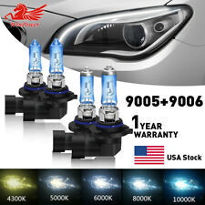 9005 & 9006 Xenon HID Headlight High/Low Beam Halogen Bulbs Combo 5500K White US