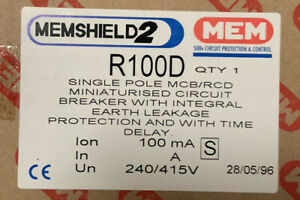 MEMSHIELD 2 R100D FIELD FIT RCD POD 100 mA WITH TIME DELAY JOB LOTS AVAILABLE