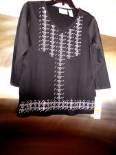 Alfred Dunner Petite Small PS Black TOP embellished Studded front NEW NWT