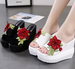 Womens Platform Wedge Sandals Rose Open Toe Heels Summer Beach Flip Flop Slipper