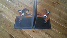 GUILD MASTER METAL JUMPING HORSES W/ JOCKEYS BOOKENDS MADE IN USA