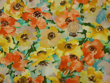 Quilting Fabric Watercolour Style Poppies Orange Yellow 100% Cotton FQS | OF7