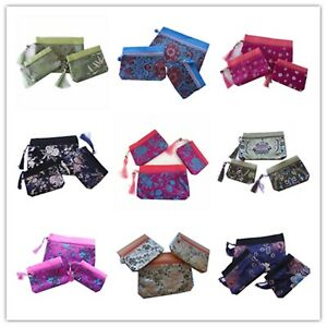 Women Wallets Chinese Style Silk Classic Three-pieces Bag Purse Jewellery Mobile