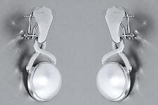 Lange Ohrhänger Weissgold 750 - Designer Ohrclipse - Mabe Halbperlen - 18 kt