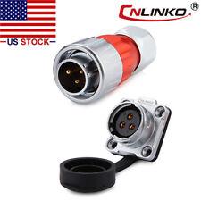 CNLINKO 3 Pin Power Connector Male Plug & Female Socket Waterproof IP67 Metal