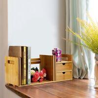 Adjustable Bamboo Desk Top Book Shelf Rack Storage Organizer Office Bookcase UL