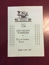 Lee Valley Warriors v City of London 1986 American Football Programmes 8 pages