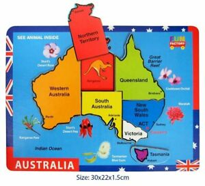 Wooden AUSTRALIA MAP Puzzle State Animal Flower Capital City Educational Toy