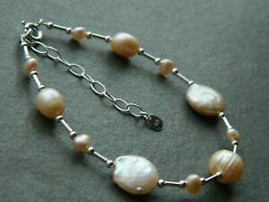 Natural Peach Pink Freshwater Pearls, Coin, Oval & Baroque & 925 Silver Bracelet
