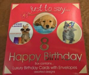 box of 8 Luxury pet birthday cards for adults - childrens + envelopes