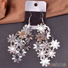 Long Drop Earrings Floral Silver Large Hippy Boho Dangle Snowflake Big Statement