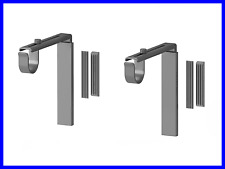 NEW 2 Sets Curtain Rod Holder Wall Ceiling Bracket SILVER Color