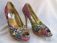 Women's Size 8.5M Steve Madden Open Toe Pumps Multi Color Heels