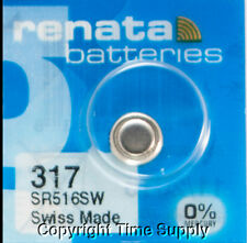 1 Pc 317 Renata Watch Batteries 317 SR516SW 0% MERCURY