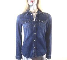 Topshop Petite Denim 100% Cotton Chambray Blue Shirt Size 8 Small
