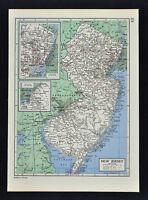 c1949 Britannica Map - New Jersey  Trenton Camden Newark New Brunswick Princeton