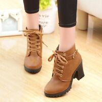 Women Round Toe Ankle Boots Lace-up Block High Heel Platform Martin Chunky Shoes