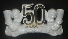 50th Golden Wedding Anniversary Double Light Candlestick Cherubs Candle Holder
