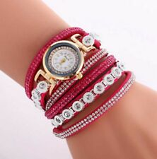 Ladies Bracelet Wrist Watch Bracelet Quartz Wristwatch Big Crystal Rose Pink