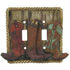 Lodge Rustic Log Home Cabin Decor cowboy boots double light Switch Plate Cover
