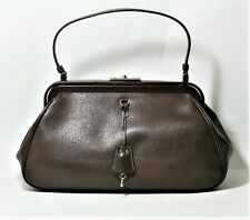 bc158ef2fd51 PRADA HANDBAG VINTAGE COLLECTION CACAO LEATHER DOCTOR FRAME BAG MADRAS  CERNIERA
