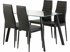 Abbey Dining Set Glass Topped with Black Legs & 4 Black Leather Chairs