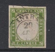 FRANCOBOLLI 1859 SARDEGNA 5 C. VERDEGIALLO BRILLANTE Z/357