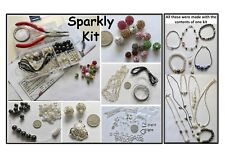 Sparkly Jewellery Making Kit,Beads,Snowflake Spacers,Findings,Tool & Instuctions