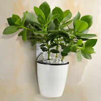 Home Garden Self-watering Plant Flower Pot Wall Hanging Plastic Planter S white