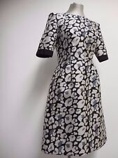 Lovely Whistles Black Silver Grey Printed Structured Wool Silk Dress UK 6 EU 34