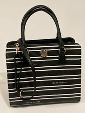 Tommy Hilfiger Black White Striped Triple Entry Lrg Satchel Crossbody Bag Purse