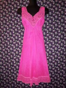 Vintage Dyed Hot Pink Slip Petticoat with Lace Trim Size 14-16