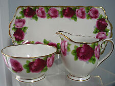 Vintage Royal Albert Creamer & Sugar Bowl & Tray ,Old English Rose,England
