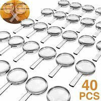 40 Pieces Plastic Magnifier Mini Handheld Magnifying Glasses 3X Hand Pocket for